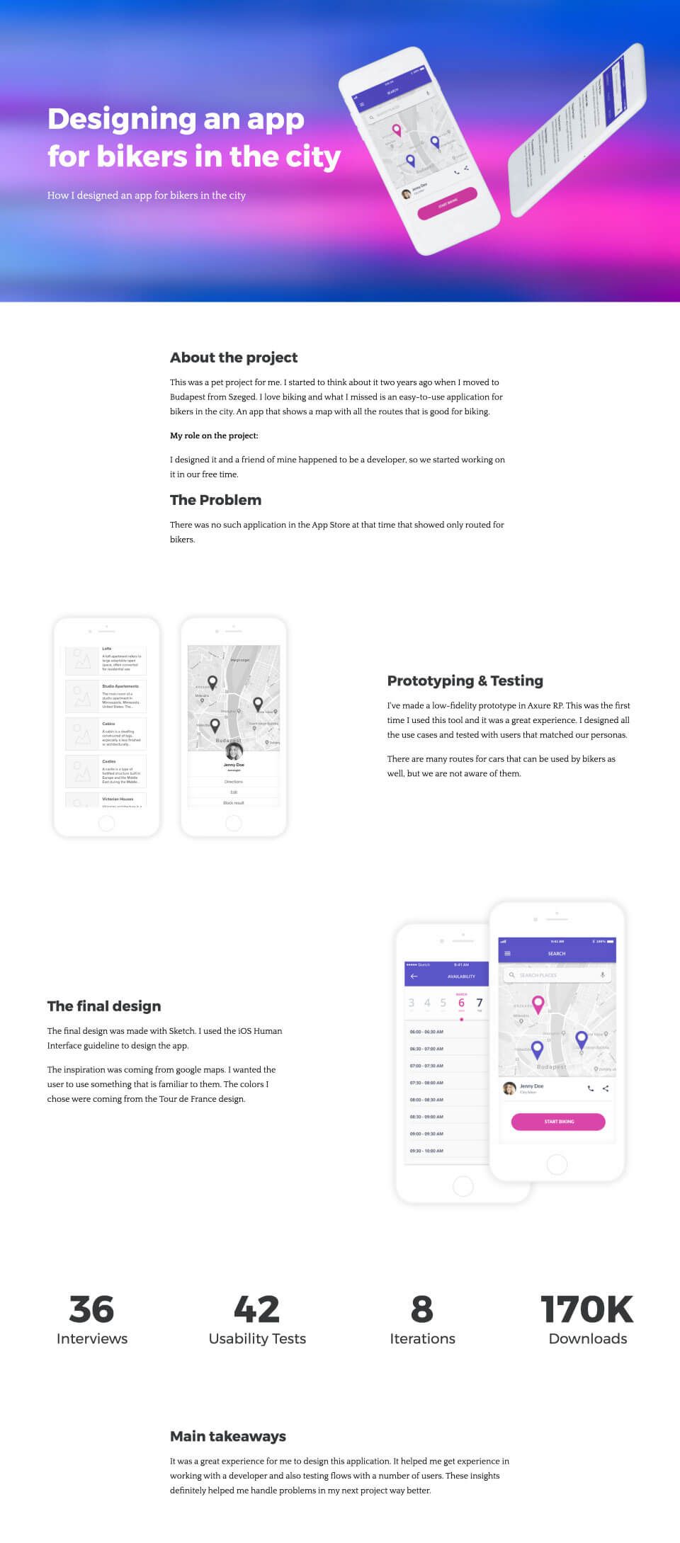 A UX portfolio describing the design process and the design decisions of the designer. The portfolio starts with the explanation of the challenge and the context. It describes how the designer solved the problems and shows the results achieved.